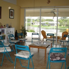 Peaceful spacious room in bird sanctuary.